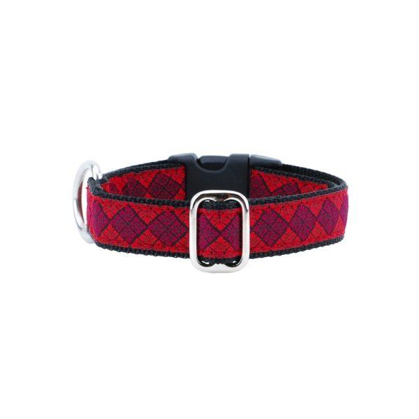 Leaf Tile Red Essential Dog Collar