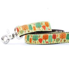 dog leash with fall leaf pattern